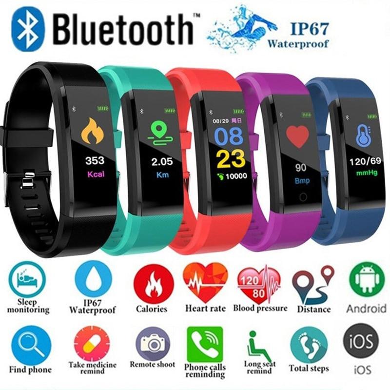 115 Plus Smart Watch Bluetooth Sport Watches Health Smart Wristband Heart Rate Fitness Pedometer Bracelet Waterproof Men Watch