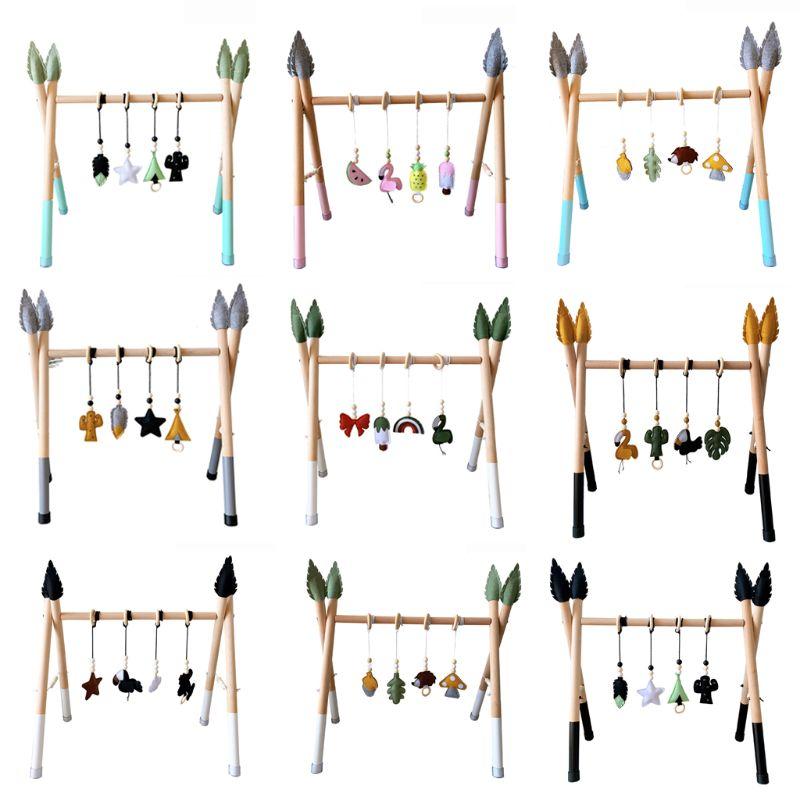 1 Set Nordic Style Solid Wood Fitness Rack Pendant Baby Gym Toys Wooden Frame Infant Room Toddler Hanging Ornaments Kids Room De