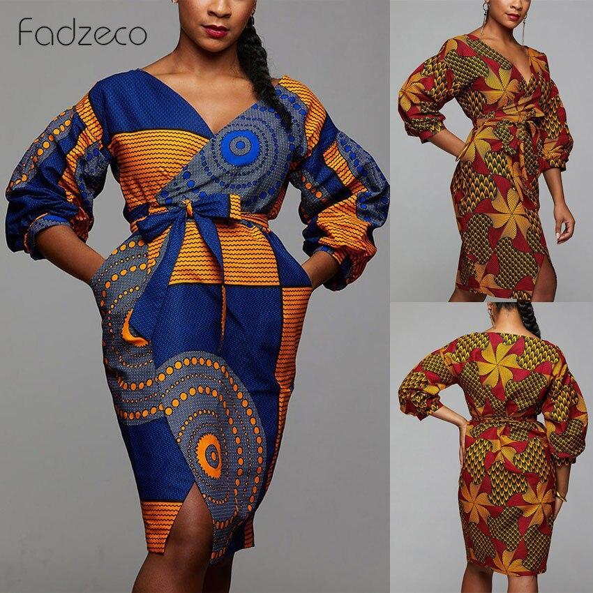 Fadzeco African Dresses For Women Dashiki Bazin Ankara Dress African Print Lattern Sleeve Sexy V Neck Midi Dress Christmas Dress