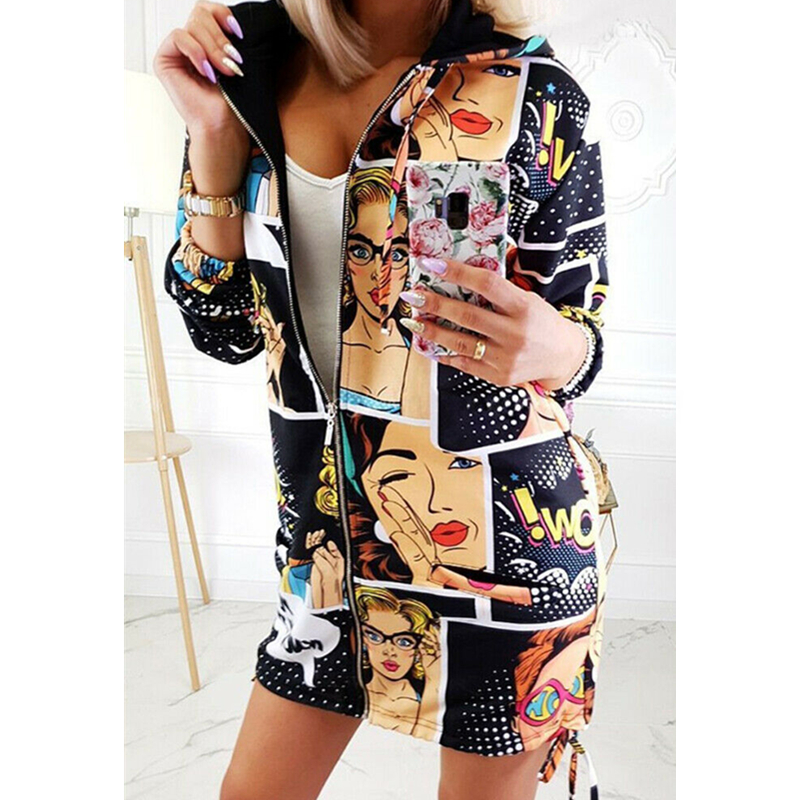 Fashion Women <font><b>Jackets</b></font> Floral Zipper <font><b>Bomber</b></font> <font><b>Jacket</b></font> Baseball Casual Long Sleeve Coat Outwear Hoodie Tops Printing <font><b>Ladies</b></font> Coats image