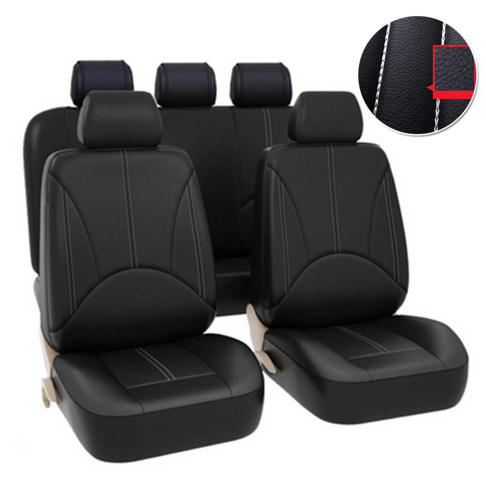 Universal Auto Seat Cover Front Back Head Rest Protector Wear-Resistant Covers Black PU Leather For 4 Season Car Seat Cover
