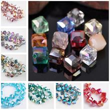10pcs Diagonal Hole 9mm Cube Square Faceted Crystal Glass Lo