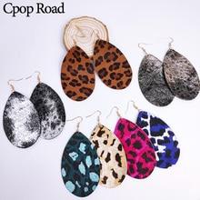 Cpop Genuine Cowhide Leather Feather Earrings Glitter Water Drop Leopard Earring Fashion Jewelry Women Accessories Hot Sale Gift