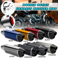 38 51mm 370mm/14.57 Motorcycle Exhaust Carbon Stainless Steel Muffler Pipe Double Air Outlet for Kawasaki/Yamaha