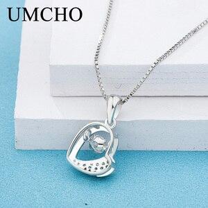 Image 4 - UMCHO หัวใจ Beatin 925 เงินสเตอร์ลิงสร้อยคอจี้ Charm PARTY สำหรับสุภาพสตรี S925 ของขวัญเครื่องประดับ Fine ไม่มีห่วงโซ่