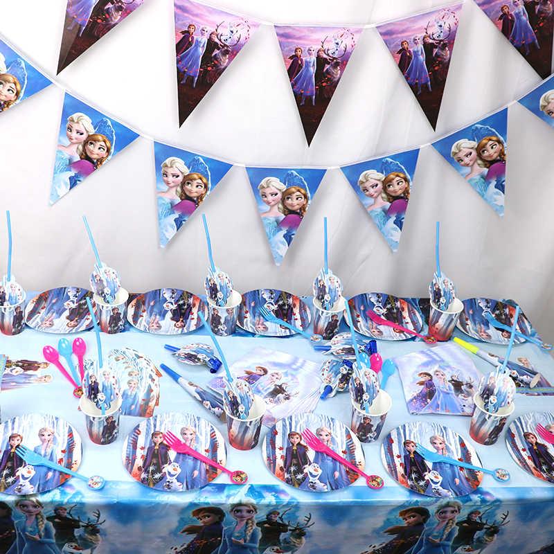 108 Stks/partij Prinses Bevroren 2 Feestartikelen Set Party Papier Stro Borden Cup Bevroren 2 Elsa Anna Verjaardag Decor Party tafelkleed