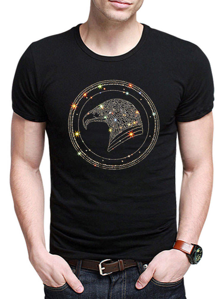 Summer Top Rhinestones T-Shirts men Short-Sleeve Cotton Fashion Mens V-Neck Tees Bird