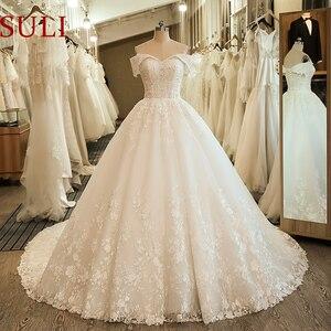 Image 1 - SL 5061 숄더 웨딩 신부 드레스 볼 가운 자수 레이스 applique Boho 웨딩 드레스 2020 noiva 플러스 사이즈 드레스