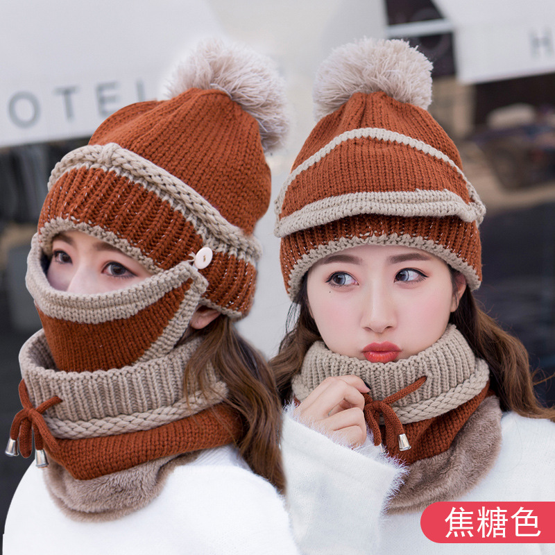 A Set Hat And Scarf For Women Ladies Fashion Design Winter Spring Keep Warm And Ear Knitted Cap Female With Fine Hair Cycling