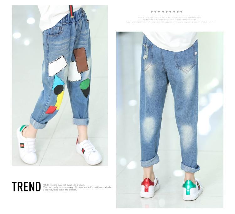 Kids Girls Jeans Pants autumn Fashion Leggings Cartoon Cat Children Pencil Long Trousers Pantalon Fillette for Under 11 Yrs 4