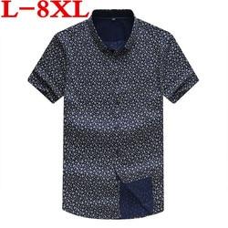 Plus Size 8XL 7XL Mannen Mode Losse Fit Casual Shirts Korte Mouw 100% Katoenen Jurk Shirts Patchwork Trendy Stijl Mannelijke shirts
