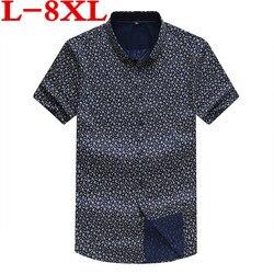 plus size 8XL 7XL Men Fashion Loose Fit Casual Shirts Short Sleeve 100% Cotton Dress Shirts Patchwork Trendy style Male Shirts