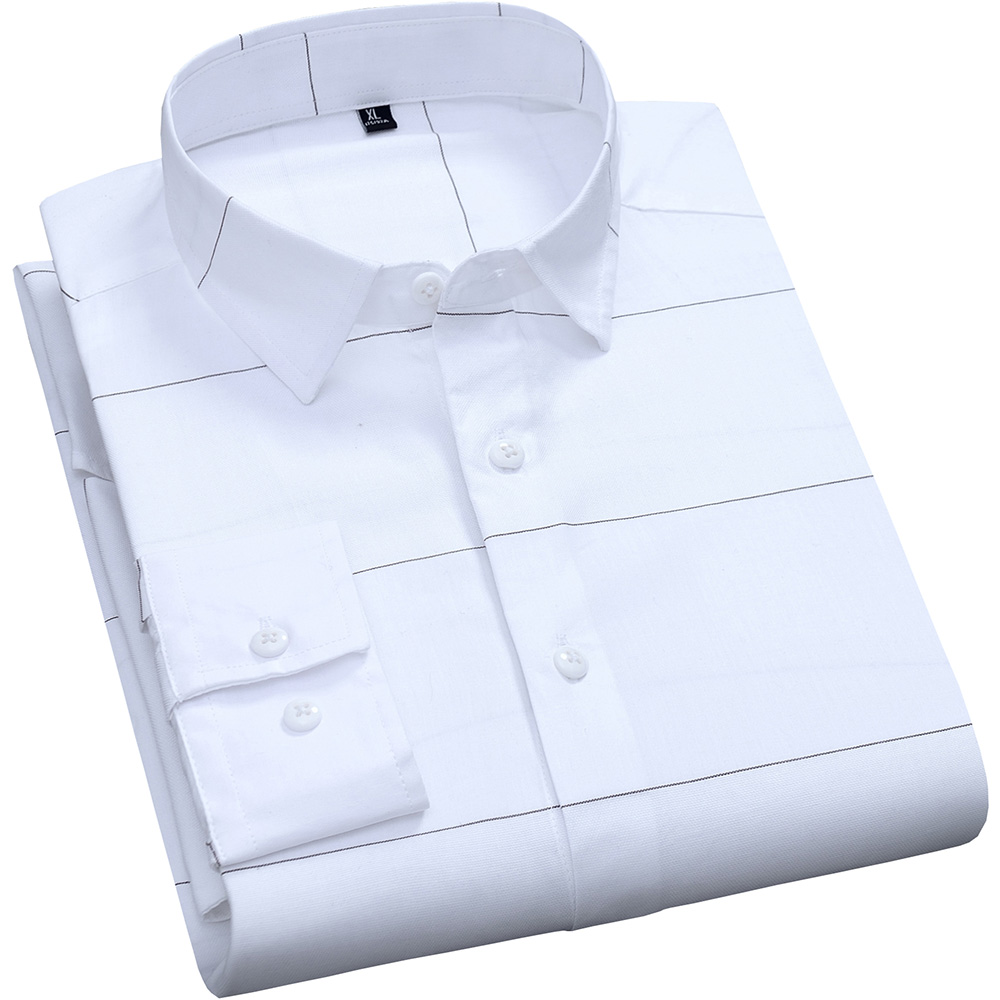 Casual Mens Stripe Shirts Pure Cotton Slim Fit White Long Sleeve Male Fashion Breathable Design Shirt