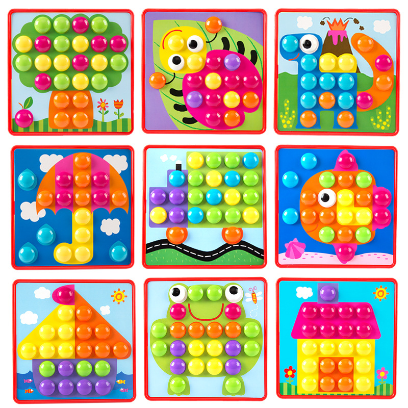 Creative Mosaic Gear Mushroom Nail Toys 3D Jigsaw Puzzle Toy Educational Kids Games Develop Imagination Puzzles For Childrren