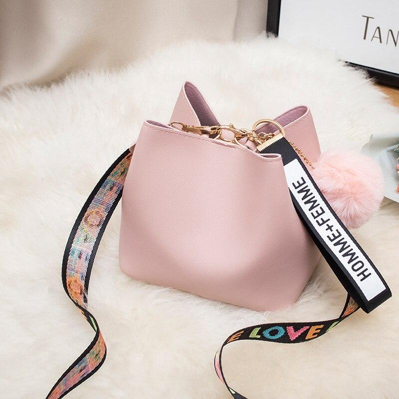 2020 Spring Summer Fashion Women Bag Ball Pendant Female Bucket Sweet Lady Lovely Shoulder Messager Crossbody Bag PU Leather