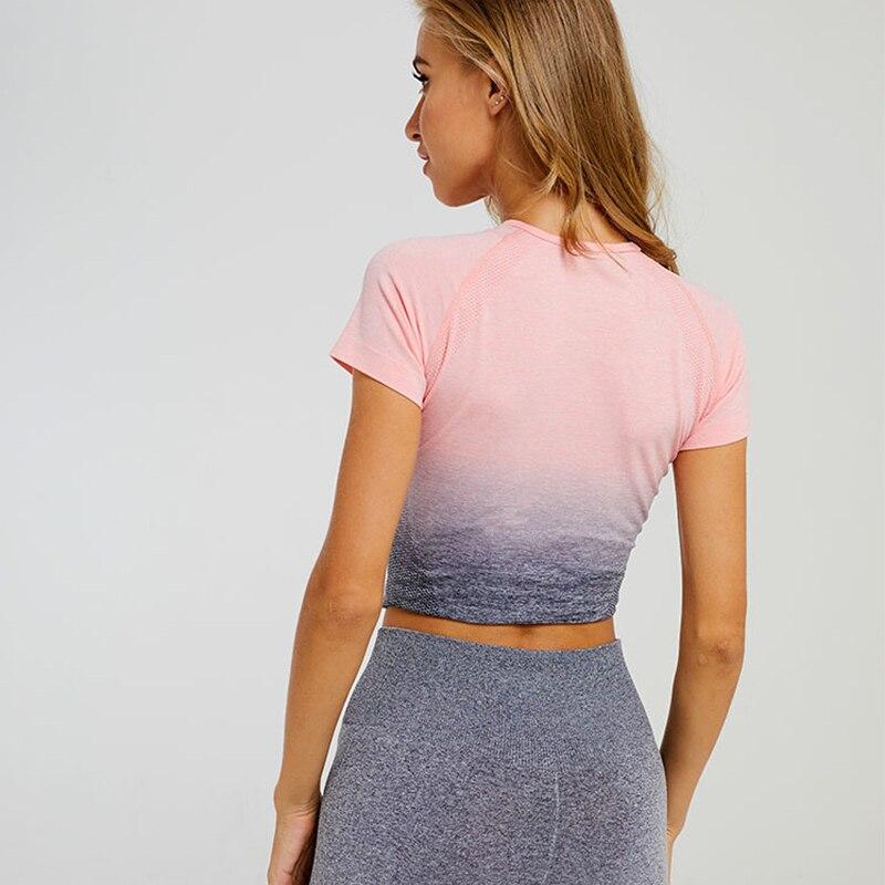 Купить кроп топ с рукавами для спортзала женская спортивная одежда