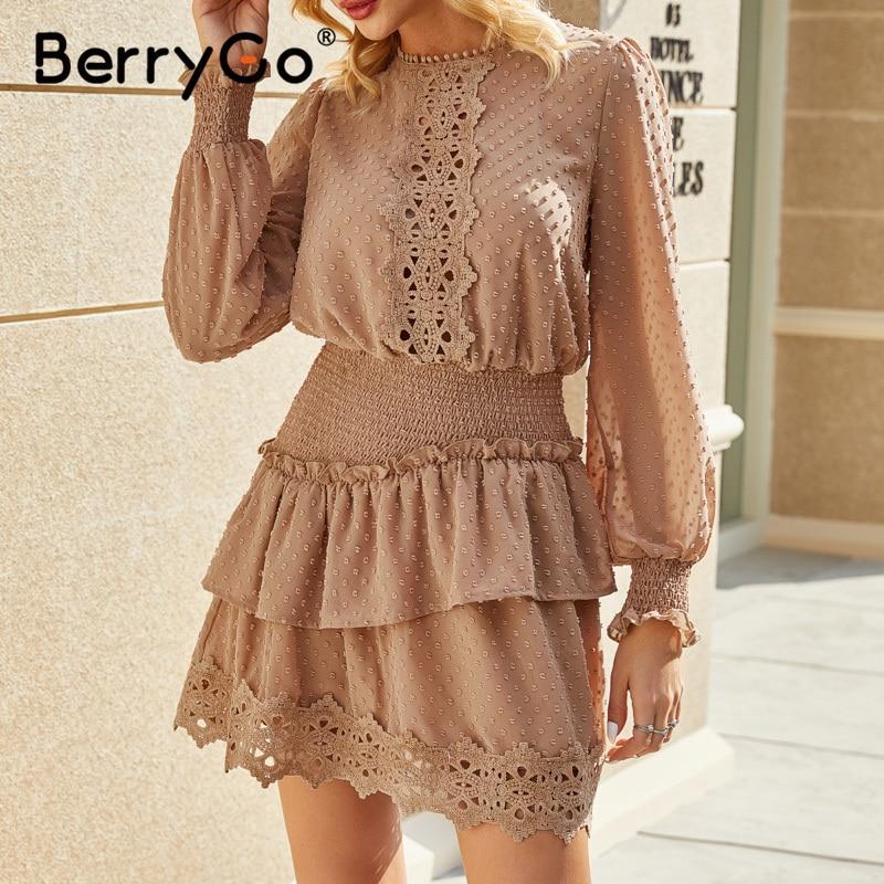 BerryGo Spring summer embroidery lace dress Elegant ruffle elastic waist women dress Polka dot ladies short dress female vestidoDresses   -