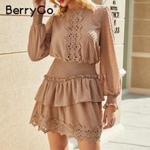 BerryGo Spring summer embroidery lace dress Elegant ruffle elastic waist women dress Polka dot ladies short dress female vestido