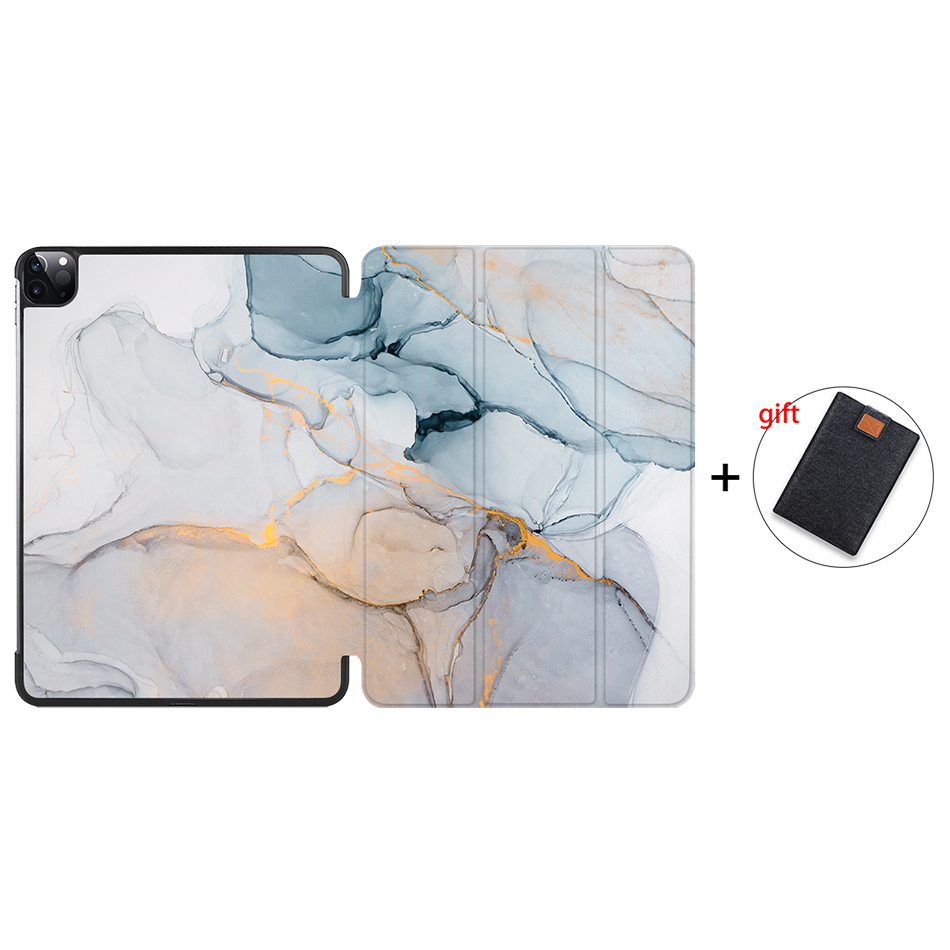 IP14 Silver MTT 2020 Marble Tablet Case For iPad Pro 11 inch A2228 A2231 PU Leather Magnetic Fold