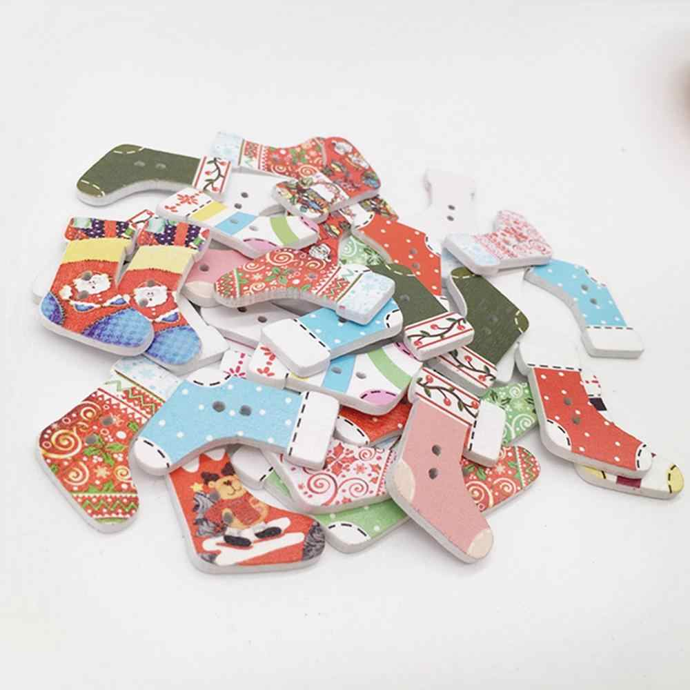 16pcs 2 hole natural print wooden Christmas Buttons sock Sewing buttons Scrapbook DIY Craft Wooden Buttons
