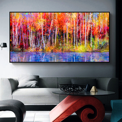 Wall Art Canvas Painting Beautiful Colors Abstract Landscape Trees  Forest In Autumn  Pictures For Living Room Decor