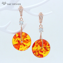 S&Z Round Vintage Ethnic Dangle Drop Earrings For Women Female Anniversary Bridal Party Wedding Jewelry Ornaments Accessories creative long statement dangle drop earrings for women female anniversary bridal party wedding jewelry ornaments accessories
