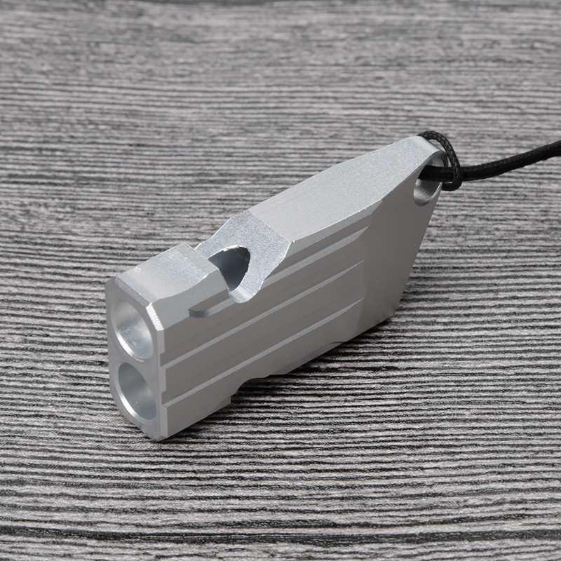 Открытый высокий децибел портативный свисток алюминиевый сплав двойной трубы аварийного выживания EDC свисток инструмент Черлидинг Новый