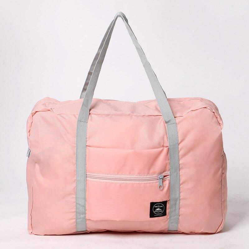 Новинка, нейлоновая складная дорожная сумка унисекс, Большая вместительная сумка для багажа, женские водонепроницаемые сумки, мужские дорожные сумки - Цвет: Pink
