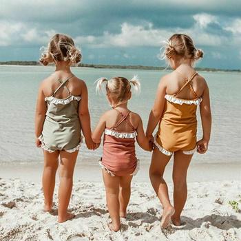 2020 nowy maluch dzieci dziewczynka jednoczęściowy zestaw Bikini strój kąpielowy strój kąpielowy strój kąpielowy potargane stałe stroje kąpielowe 1-6T tanie i dobre opinie hirigin POLIESTER Dziewczyny Patchwork Dobrze pasuje do rozmiaru wybierz swój normalny rozmiar