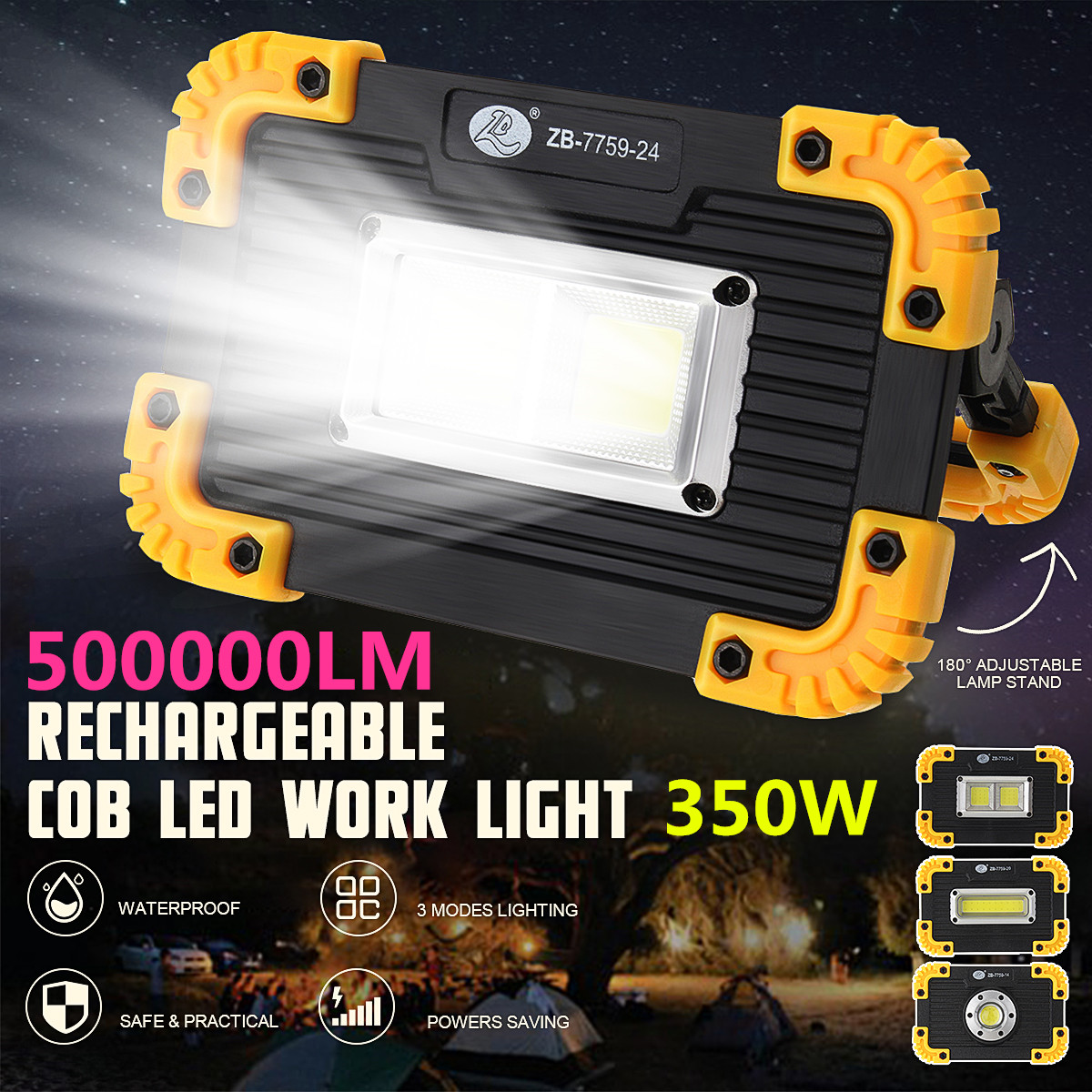 350W COB LED Floodlight USB Charging 5-8 Hours Spot Work Lamp Outdoor Camping Portable Led Searchlight Rechargeable Battery