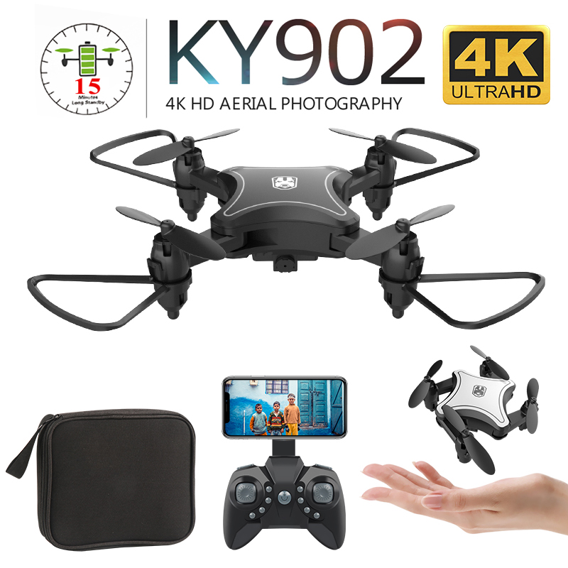 New KY902 Mini Foldable Drone With 4K HD Camera WiFi FPV Voice Control Follow Me RC Helicopter Quadrocopter Kid Toy VS E58 SG106