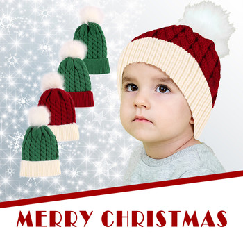 Christmas Children Hat Knitted Beanie Cap Winter Solid Warm Hats Baby For Boys Girls Fashion Casual Cap men and women children s woolen hats knitted thickened baby beanie new fake fur ball removable leisure outdoors warm winter cap