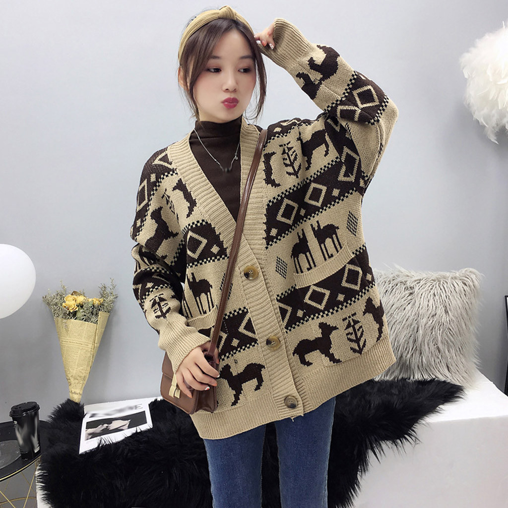 Womens Winter Warm knitting Sweater Clothing Long Sleeve Elegant Outwear Printing Coats Skin-friendly Cardigan Coat