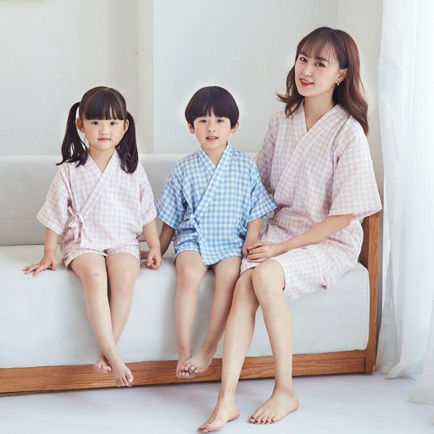 Japanese Style Chidlren Girls Sleepwear Jinbei Sauna Wear Bathing Clothing Set Cotton Comfortable Yukata Pajamas for Kids Boys
