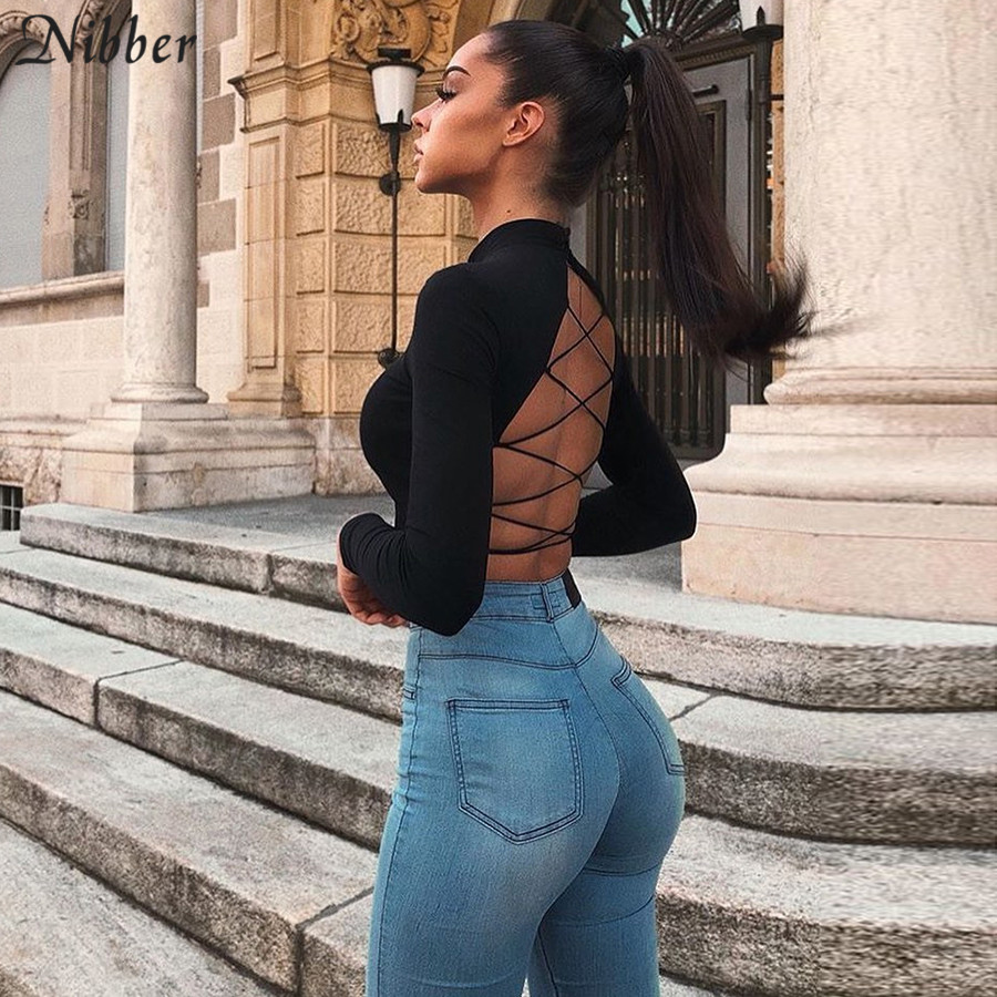 NIBBER Street Style Sexy Backless Hollow Out Bandage Top Slim Turtleneck T-shirt Crop Top2019autumn  Trend Full Sleeve Tee Femme