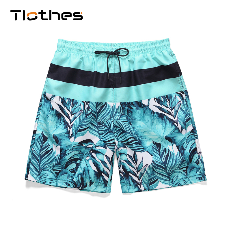 Men Summer Leaf Print Patchwork Shorts 2020 Mens Streetwear Hip Hop Shorts Casual Colorful Beach Sport Shorts With Safety Pants