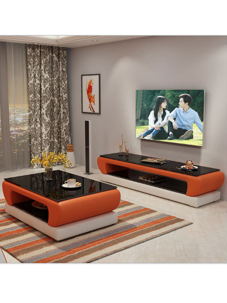 Natural Designer Glass Leather Coffee Table Living Room + TV Stand Minimalist Modern Rectangle Mesas De Centro Table Basse