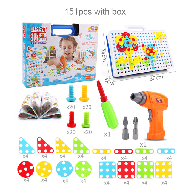 Kids Electric Drill Toys Game DIY Creative Model Building Kits Assembly Cartoon Animal Toy Gift Educational Blocks Toys For Boys
