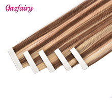 Gazfairy Tape In Remy Hair Extensions 16''-24'' 20 Pieces Real Cuticle Aligned Seamless Straight Hairpieces Skin