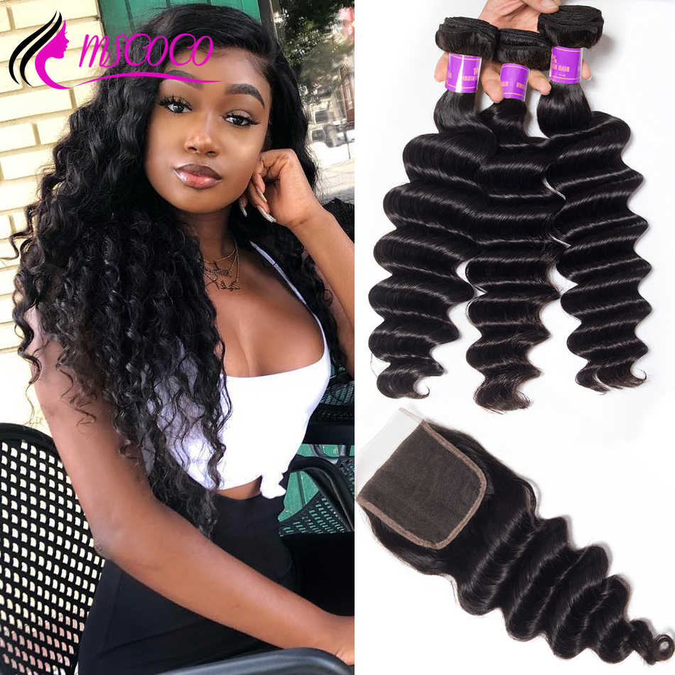 Mscoco Hair Loose Deep Wave Bundles With Closure 6x6 5x5 Closure With Bundles Remy Brazilian Human Hair 3 Bundles With Closure