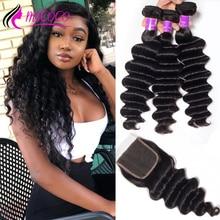 Mscoco Hair Loose Deep Wave Bundles With Closure Remy Brazilian Hair Weave 3 Bundles Human Hair Bundles With Closure
