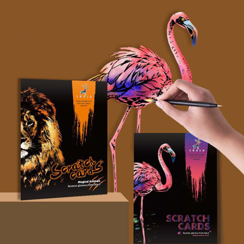4 Pcs/Set A4 DIY Manual Scraping Painting Colorful Realistic Cartoon Animals Lion Wolf Flamingo Night View Scratch Drawing Toys