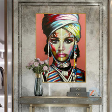 African women's graffiti posters and abstract printed oil paintings on the walls of African girls