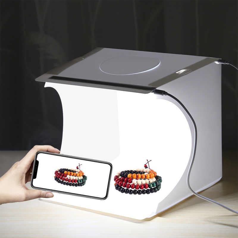 Portabel Lipat Fotografi Studio Soft Box Lightbox Kotak Lunak Latar Belakang Kit Photo Studio Light Box 2 Panel LED untuk Kamera DSLR
