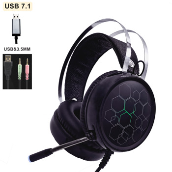 Music Gaming Headset with Microphone Headphones Surround USB 7.1 & 3.5MM Wired Earphone for PC Computer X box One PS4 RGB Light logitech g433 wired headphone x 7 1 surround gaming headset for pc ps4 xbox computer peripheral accessories
