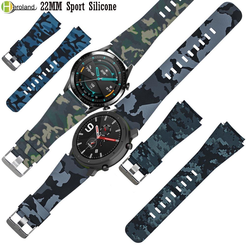 22MM Sport Silicone Watch Strap For Huawei Watch GT / GT 2 / Active / Amazfit GTR 47mm Smart Watchband Printing Pattern Pulseira