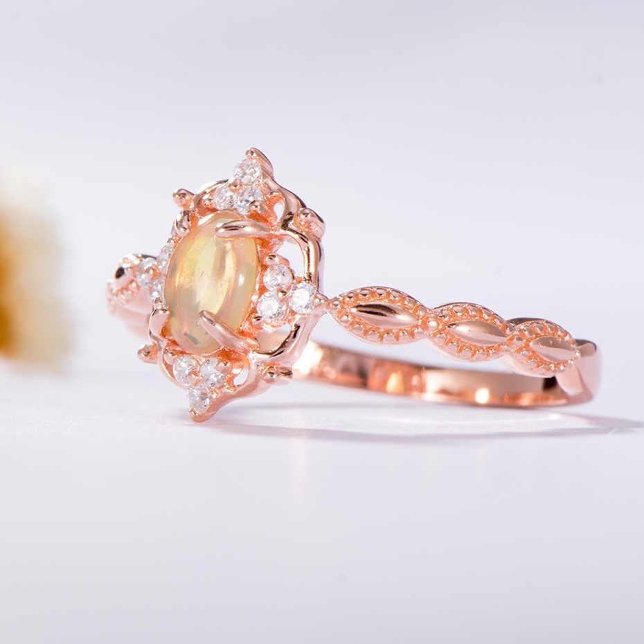Anillos de piedras preciosas de ópalo Natural Kuololit para mujeres anillo de Plata de Ley 925 anillo de compromiso hecho a mano de boda parte regalo joyería fina