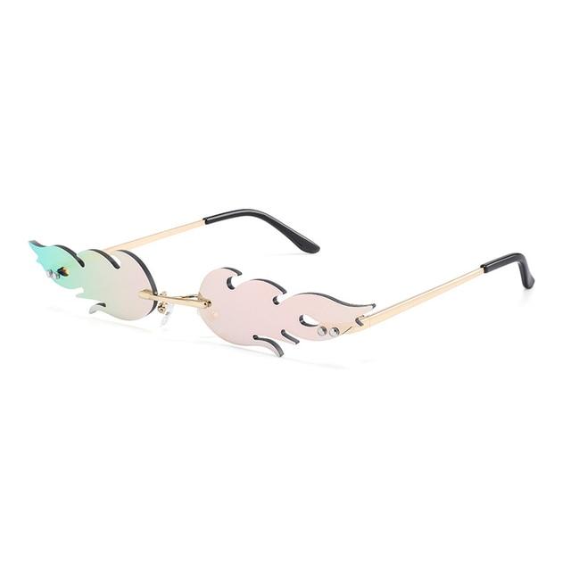 Luxury Fashion Fire Flame Sunglasses Women  Rimless Wave Sun Glasses Metal Shades For Vintage Women Mirror Eyewear UV400 2