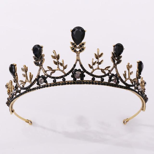 KMVEXO 2020 New Vintage Wedding Crown Bridal Headpiece Baroque Black Crystal Tiaras Crowns Bride Party Wedding Hair Accessories