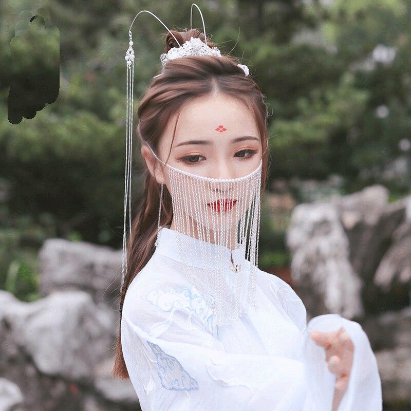 Estilo antigo acessórios de cabelo hanfu véu feminino pendurado orelha tassel rosto cortina chinês headdress dança desempenho acessórios